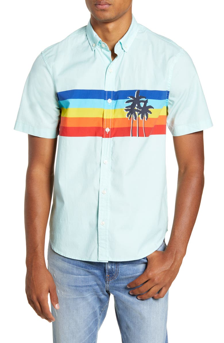 CHUBBIES The Sunsetter Stripe Short Sleeve Button-Down Popover Shirt, Main, color, RAINBOW STRIPE