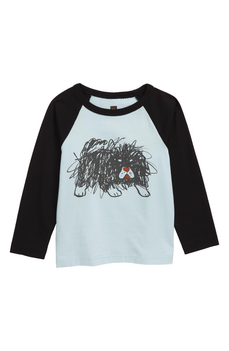TEA COLLECTION Scribble Dog Graphic Raglan Shirt, Main, color, SKYLIGHT