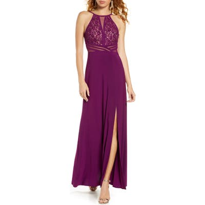Morgan & Co. Lace & Illusion Mesh Bodice Gown, Burgundy