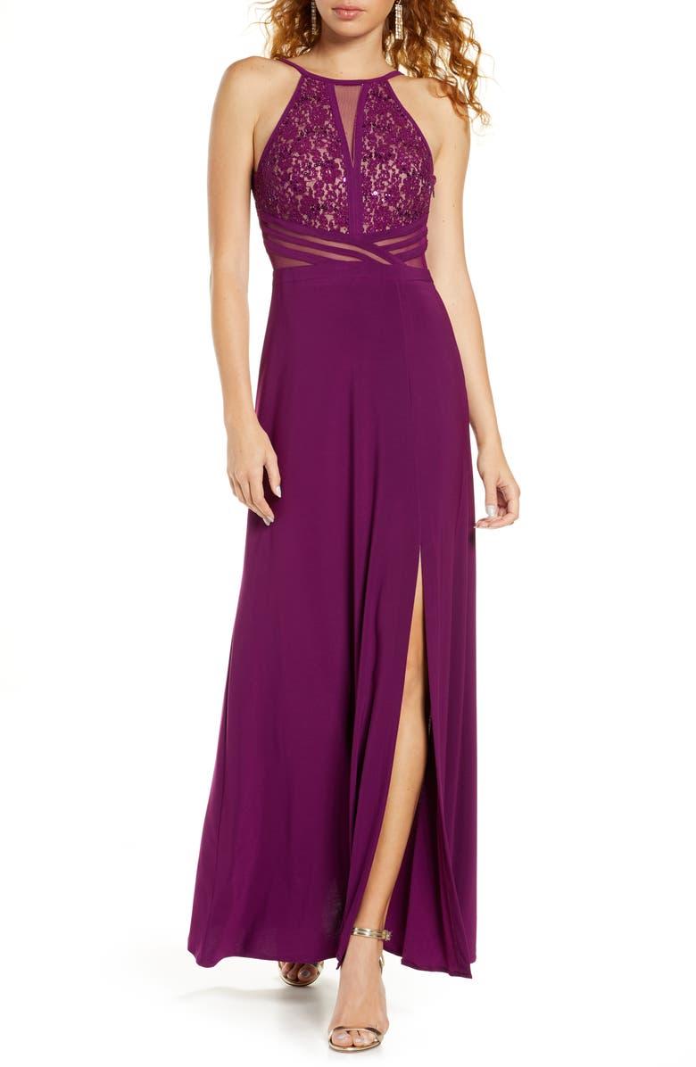 MORGAN & CO. Lace & Mesh Inset Column Gown, Main, color, SANGRIA/NUDE