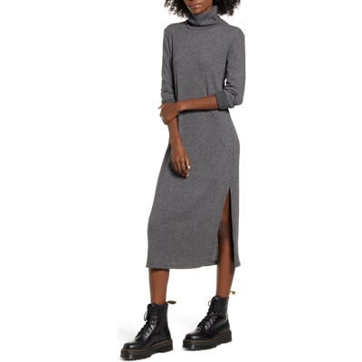 All In Favor Long Sleeve Midi Sweater Dress, Grey