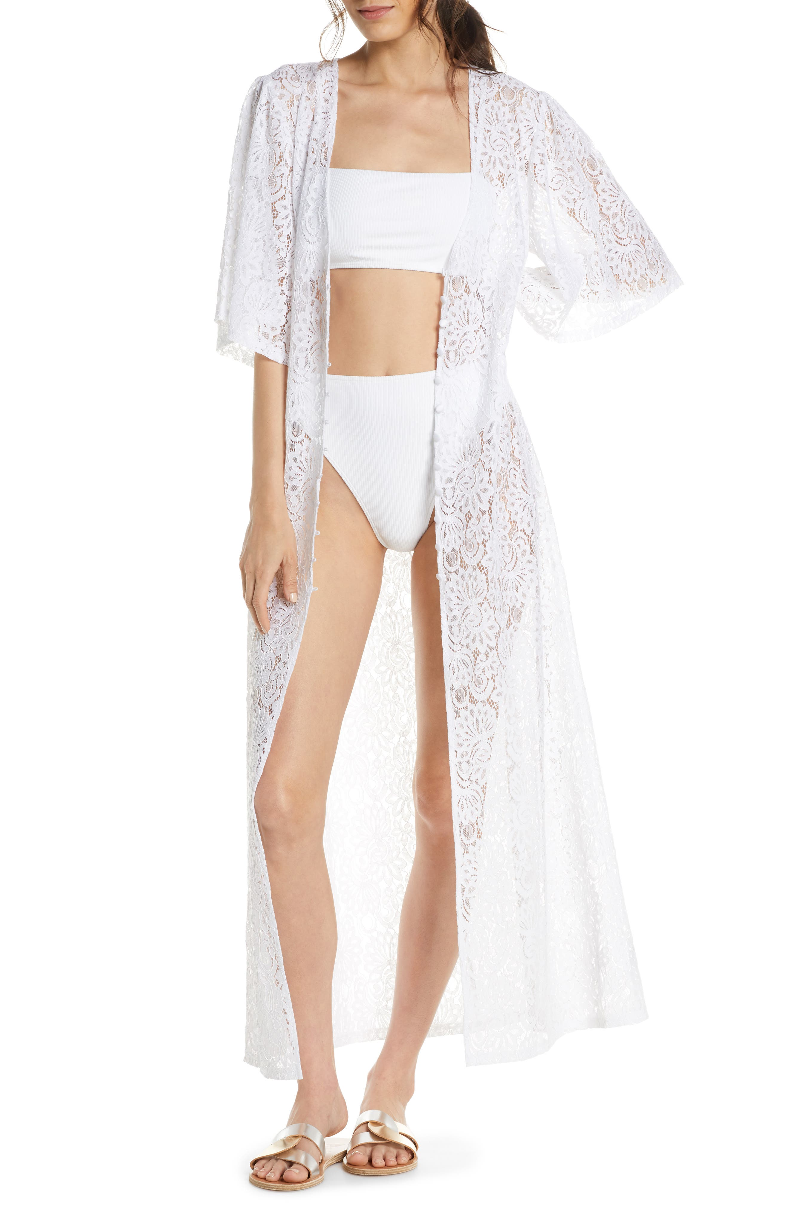 Something Navy Lace Cover-Up Wrap, White (Nordstrom Exclusive)