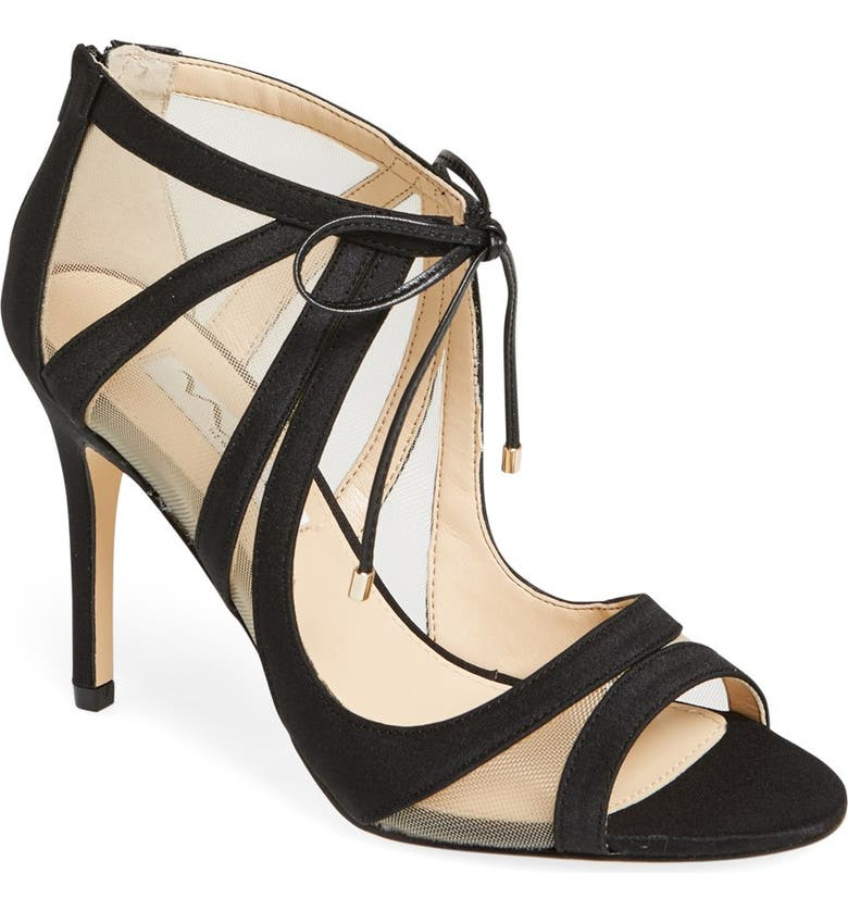 NINA Cherie Illusion Sandal, Main, color, BLACK SATIN/ NUDE MESH
