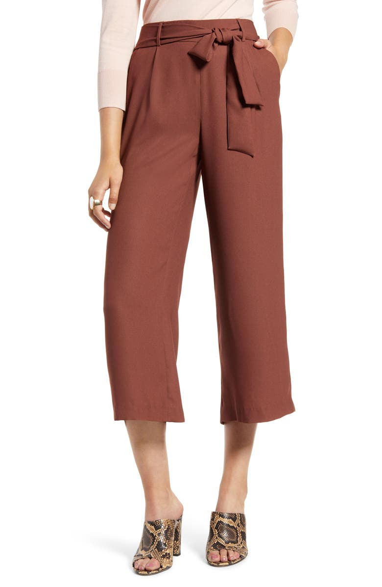 HALOGEN<SUP>®</SUP> Wide Leg Crop Pants, Main, color, RUST SEQUOIA