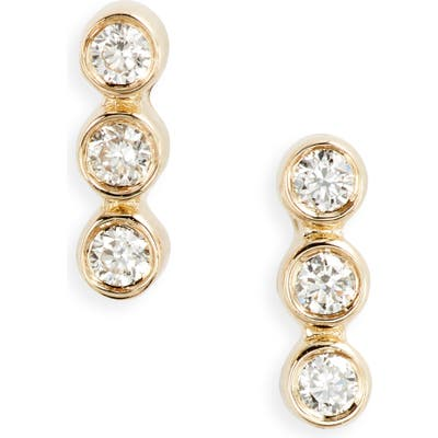Ef Collection Triple Bezel Diamond Stud Earrings