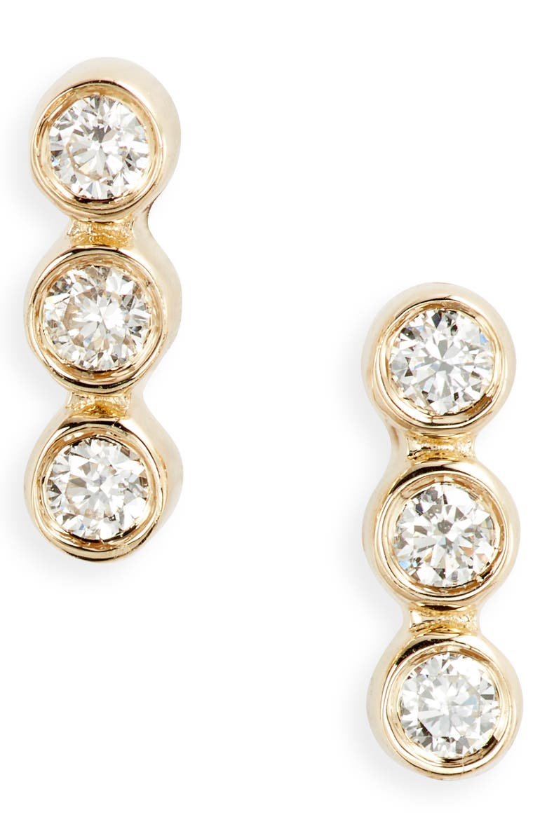 EF COLLECTION Triple Bezel Diamond Stud Earrings, Main, color, YELLOW GOLD/ DIAMOND
