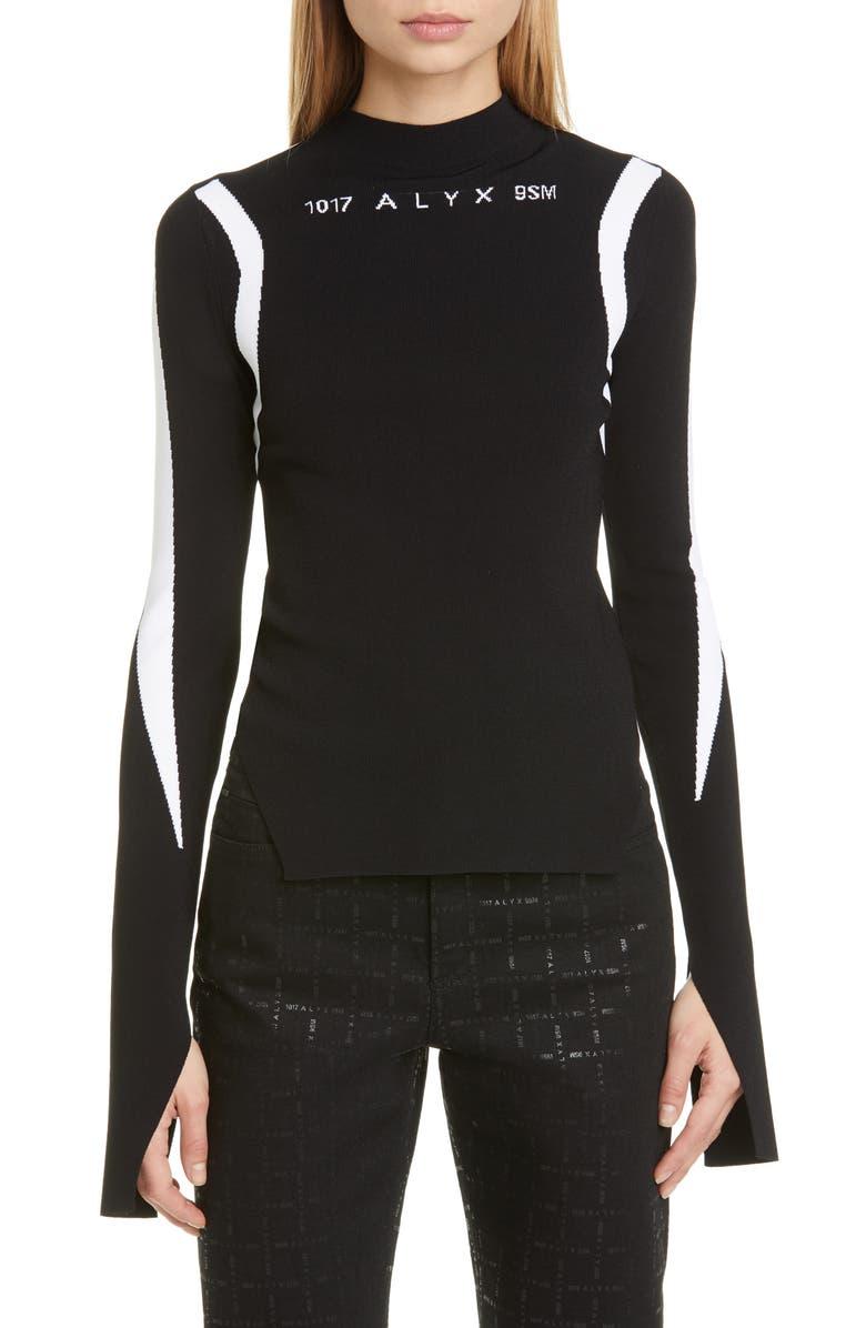 1017 ALYX 9SM Warp Speed Jacquard Logo Sweater, Main, color, BLACK