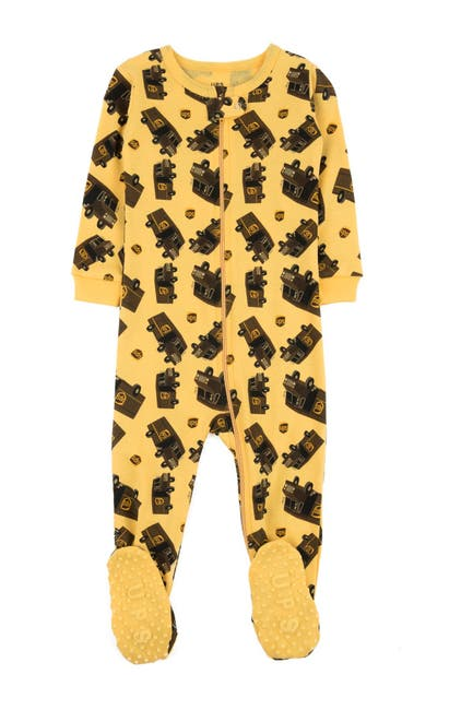Image of Leveret Yellow UPS Footed Sleeper Pajama