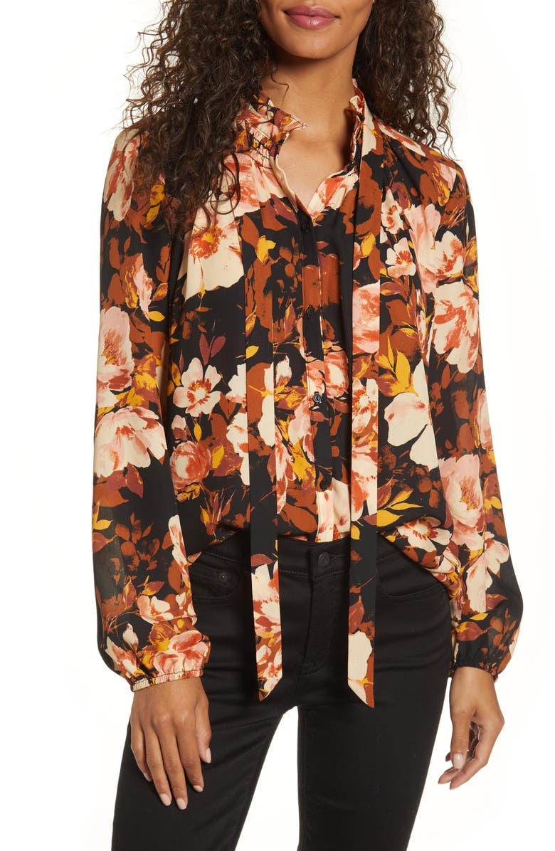 GIBSON x Fall Refresh Fancy Ashley Smocked Bow Neck Top, Main, color, MYRANDA FLORAL