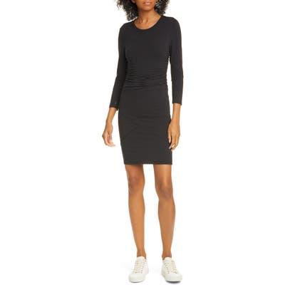 Atm Anthony Thomas Melillo Ruched Pima Cotton Body Con Dress, Black