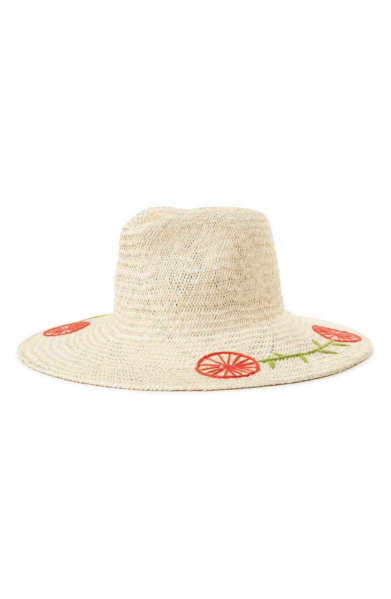 BRIXTON Joanna Embroidered Straw Hat, Main, color, TAN