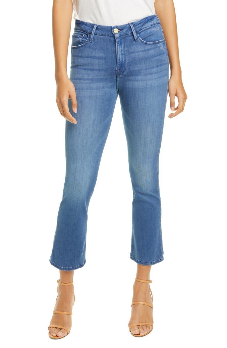 FRAME Le Crop High Waist Mini Boot Jeans, Main, color, BLUE LAGOON