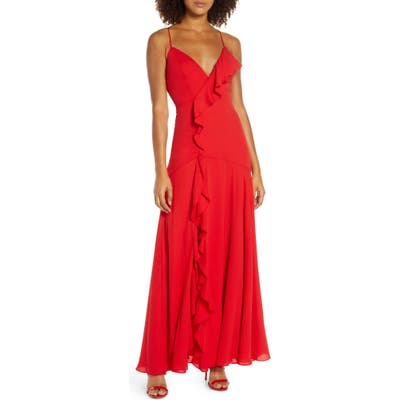 Fame And Partners Callais Ruffle Gown, Red