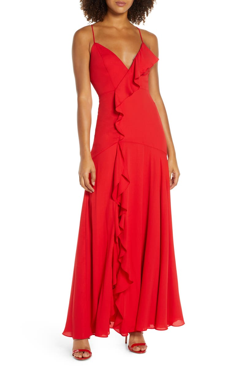 FAME AND PARTNERS Callais Ruffle Gown, Main, color, RED