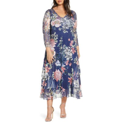 Plus Size Komarov Charmeuse & Chiffon A-Line Dress, Blue