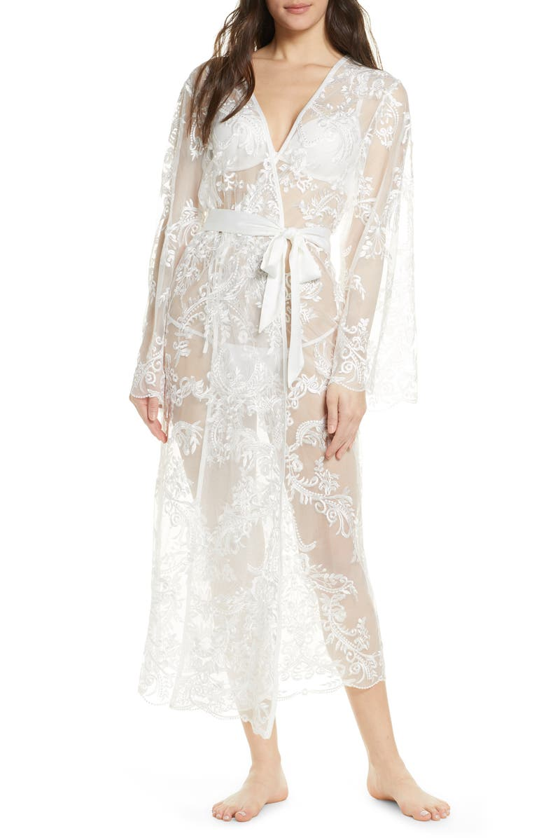 HOMEBODII Madeleine Long Lace Robe, Main, color, 100