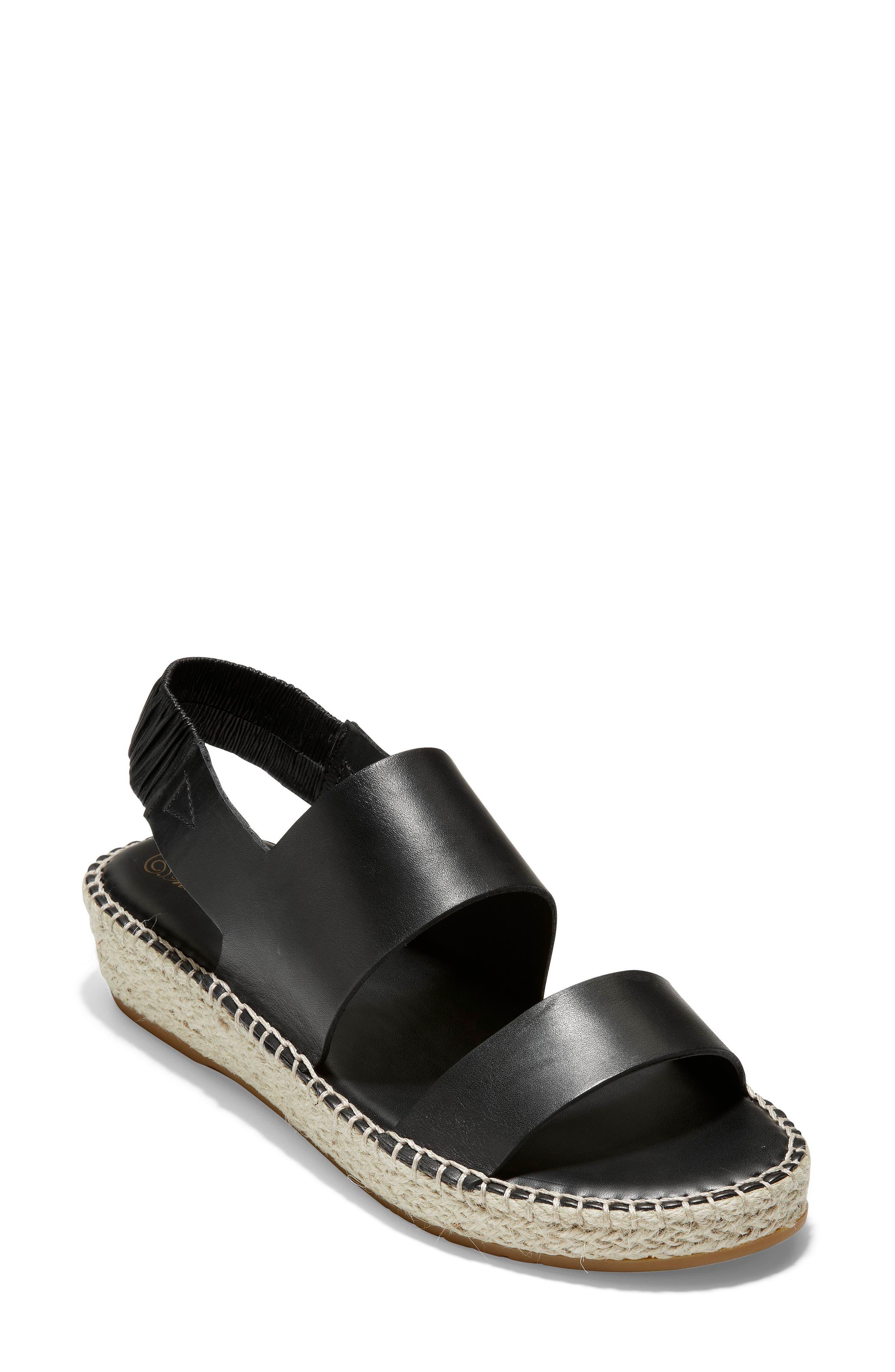 Cloudfeel Espadrille Sandal, Main, color, BLACK LEATHER