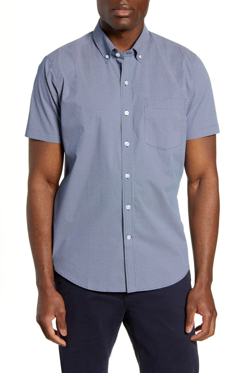 CUTTER & BUCK Classic Fit Short Sleeve Button-Down Sport Shirt, Main, color, CHELAN