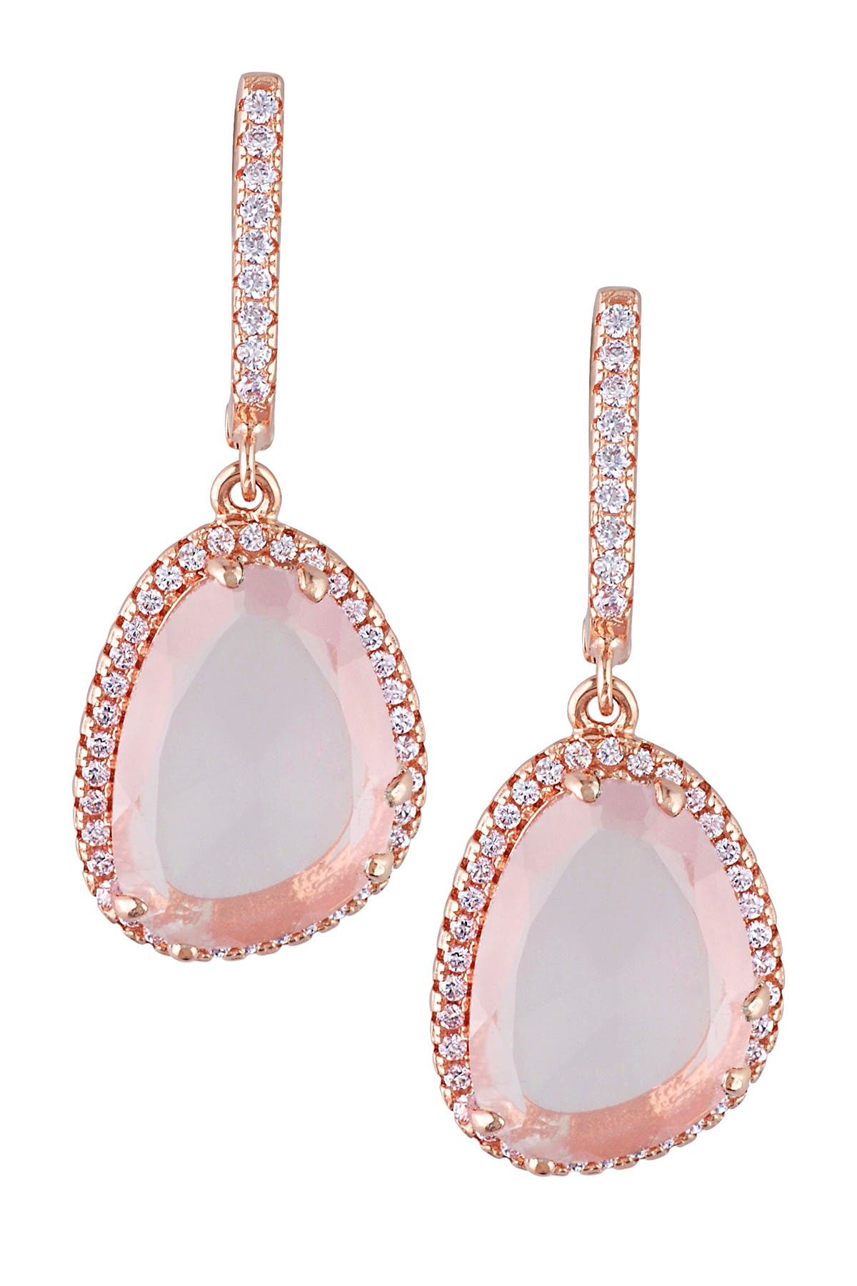 Image of Delmar Rose Quartz & White Topaz Dangle Earrings