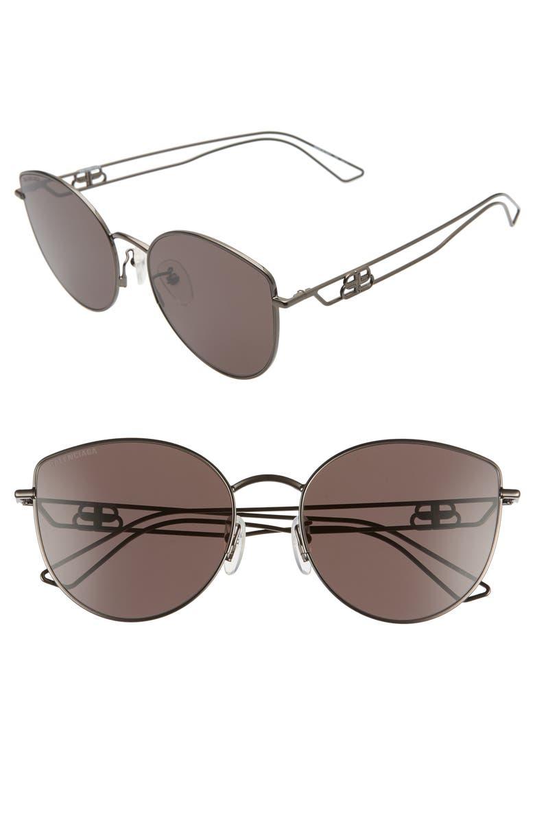 BALENCIAGA 57mm Cat Eye Sunglasses, Main, color, SHINY GUN METAL/ GREY
