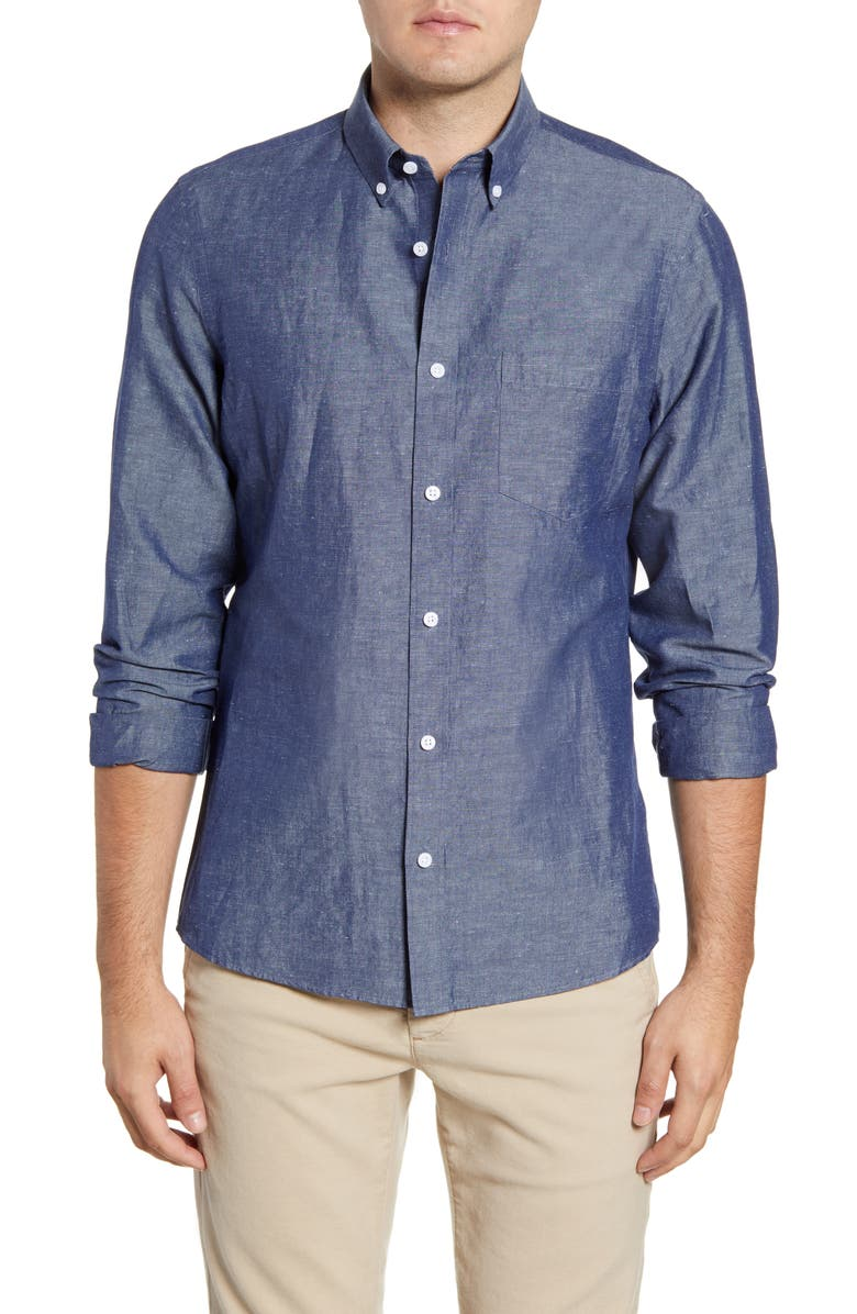 NORDSTROM MEN'S SHOP Trim Fit Chambray Button-Down Sport Shirt, Main, color, NAVY SLUB CHAMBRAY