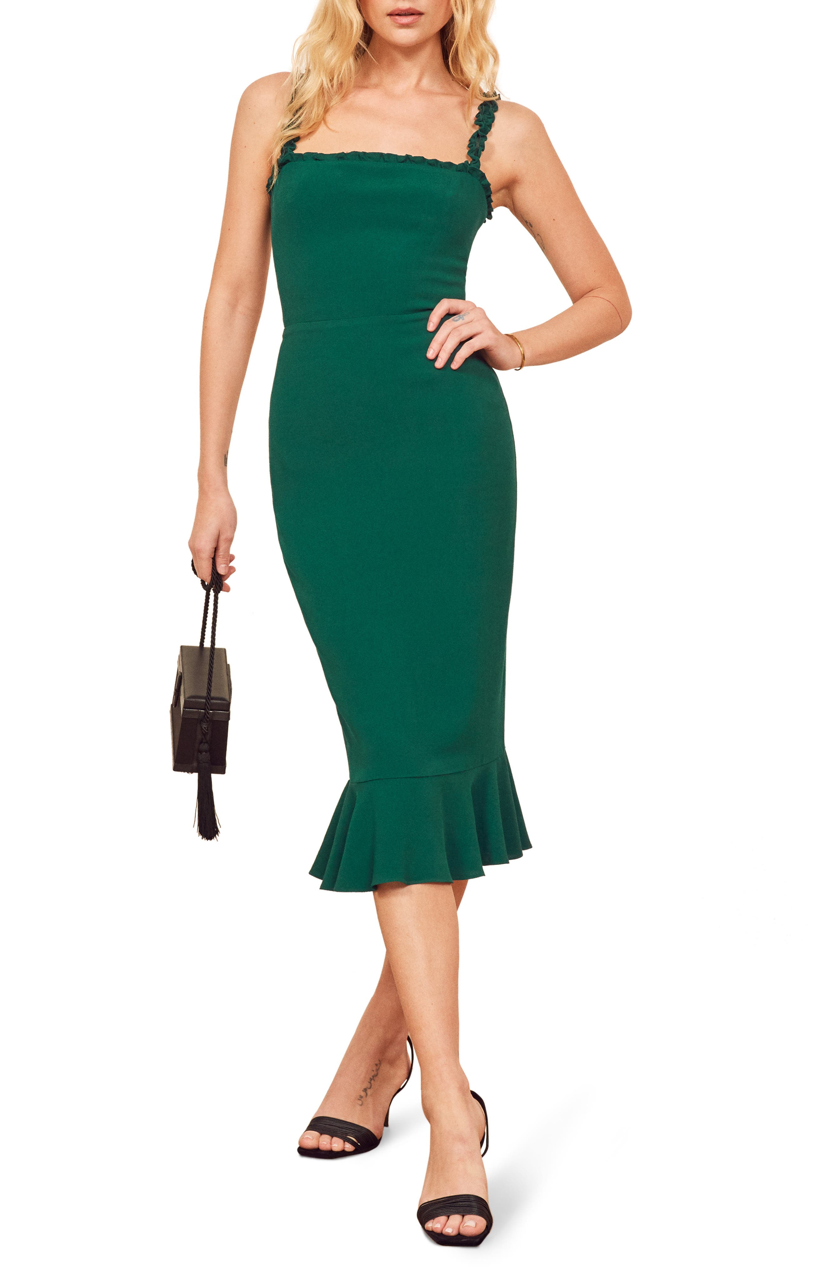 Reformation Wilshire Body-Con Dress, Green