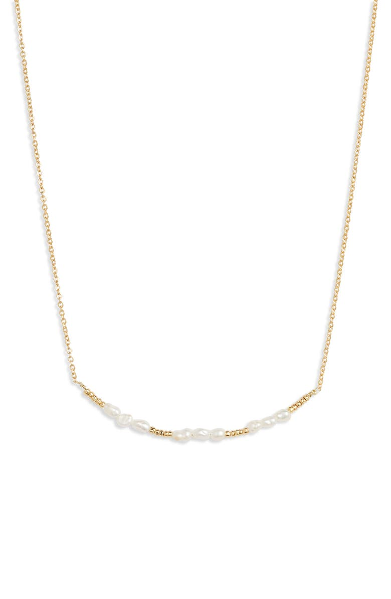 JULES SMITH Beaded Pearl Necklace, Main, color, GOLD