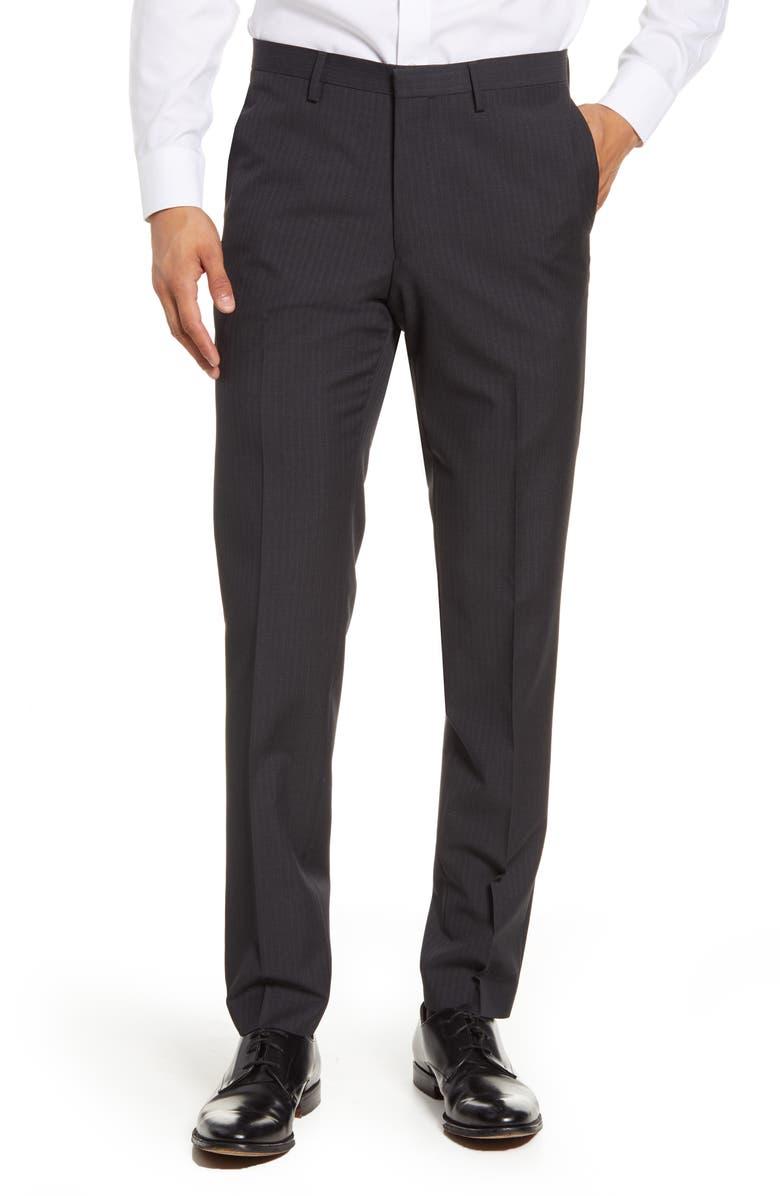 TIGER OF SWEDEN Flat Front Stripe Wool Dress Pants, Main, color, DARK GREY