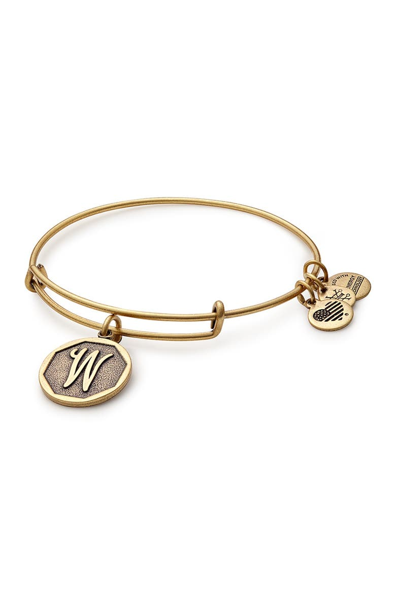 ALEX AND ANI 'Initial' Adjustable Wire Bangle, Main, color, 220