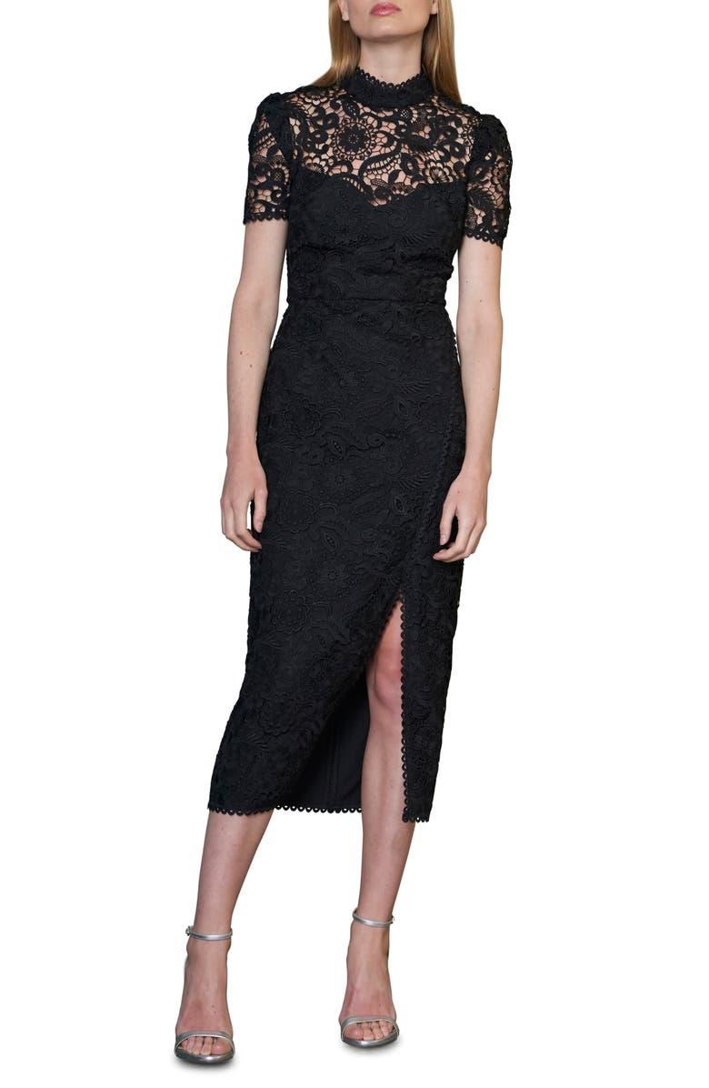 ML MONIQUE LHUILLIER Floral Lace Midi Cocktail Dress, Main, color, 001