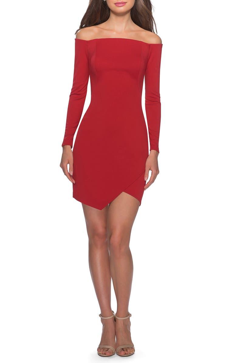 LA FEMME Off the Shoulder Tulip Hem Long Sleeve Minidress, Main, color, RED