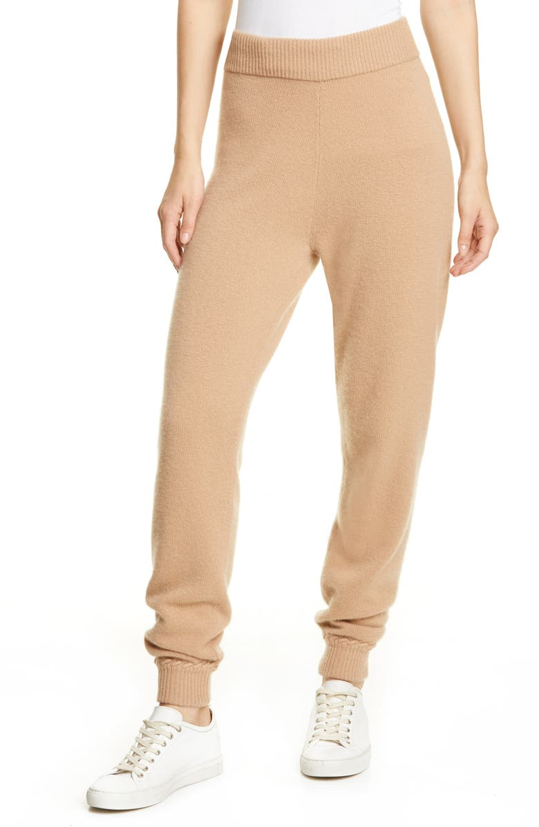 THEORY Whipstitch Detail Cashmere Jogger Pants, Main, color, CAMEL