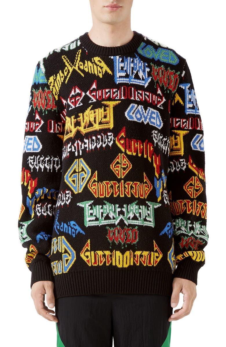 GUCCI Black Sabbath Wool Sweater, Main, color, BLACK MULTI