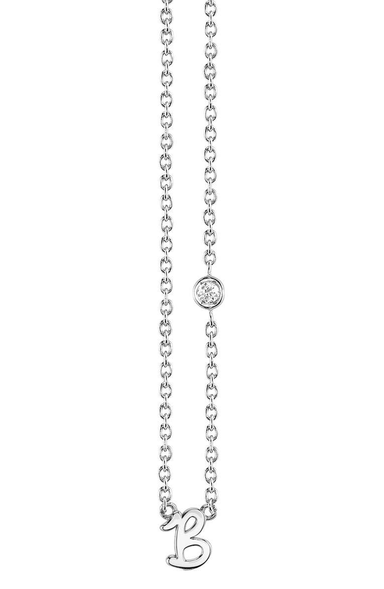 SYD BY SYDNEY EVAN Diamond Initial Pendant Necklace, Main, color, SILVER B