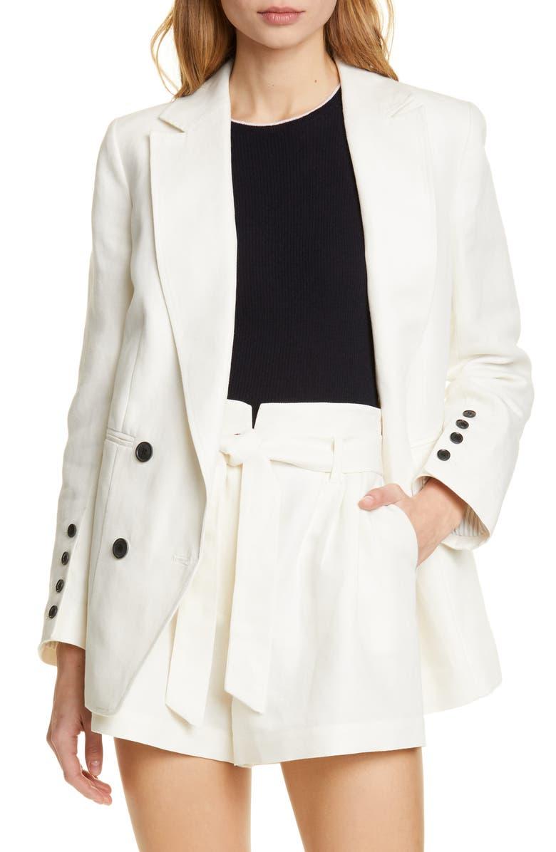 FRAME Double Breasted Linen & Cotton Boyfriend Blazer, Main, color, SUITING WHITE