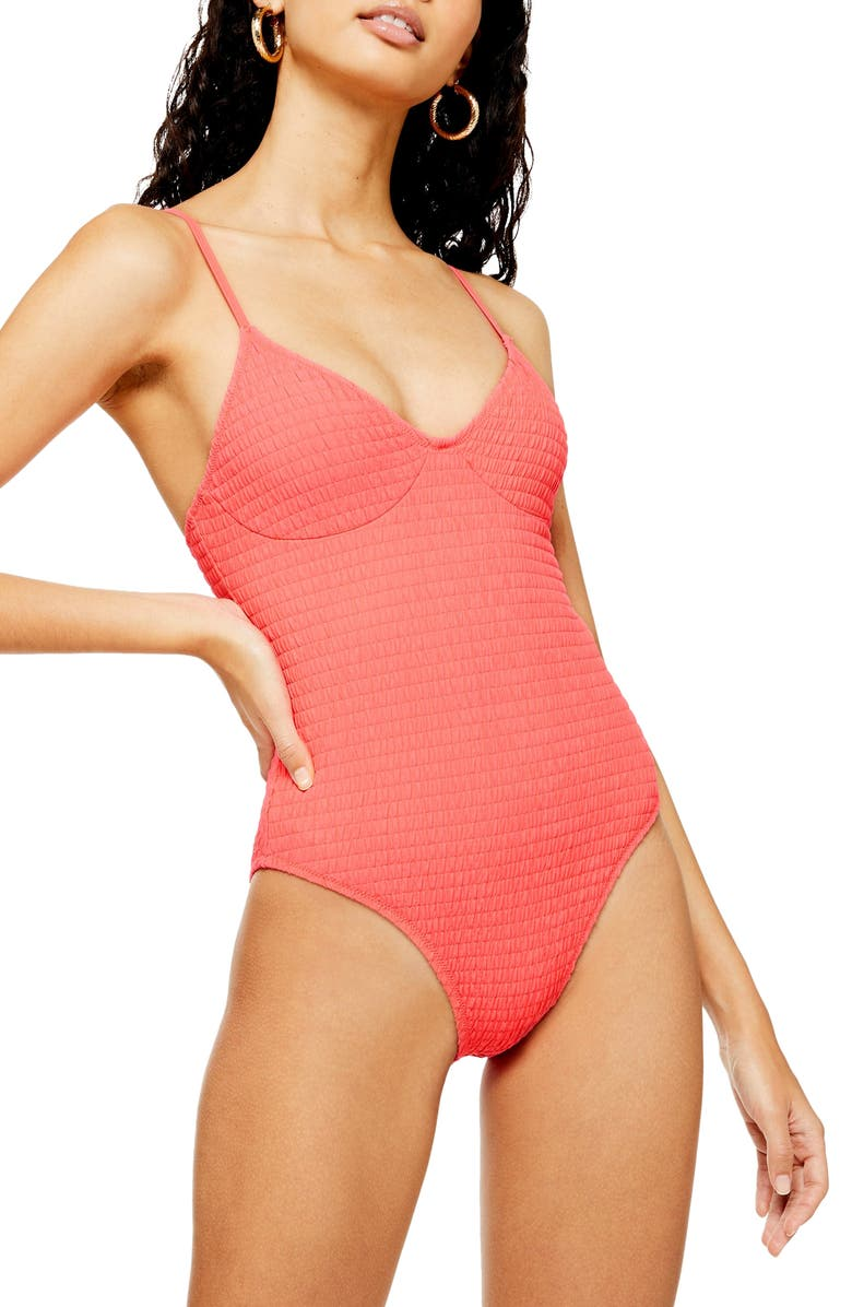 TOPSHOP Shirred One-Piece Swimsuit, Main, color, BRIGHT RED