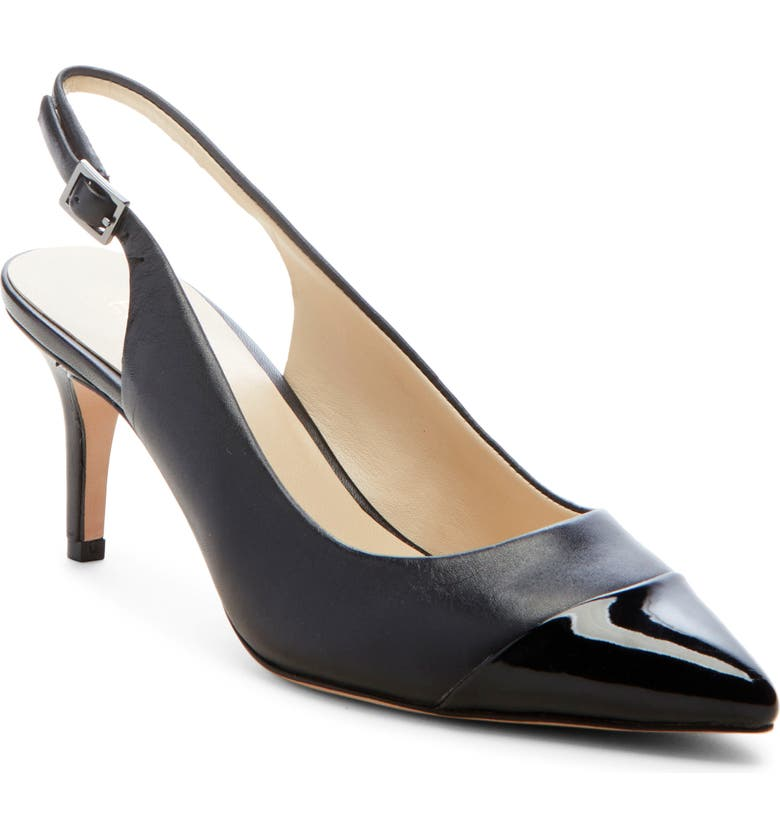 ENZO ANGIOLINI Damiana Slingback Pump, Main, color, BLACK LEATHER