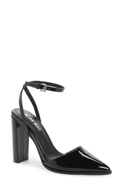 Alias Mae Layton Ankle Strap Pump In Black Patent Leather