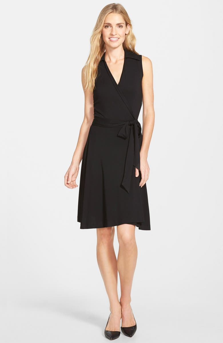 VINCE CAMUTO Sleeveless Wrap Jersey Dress, Main, color, 006