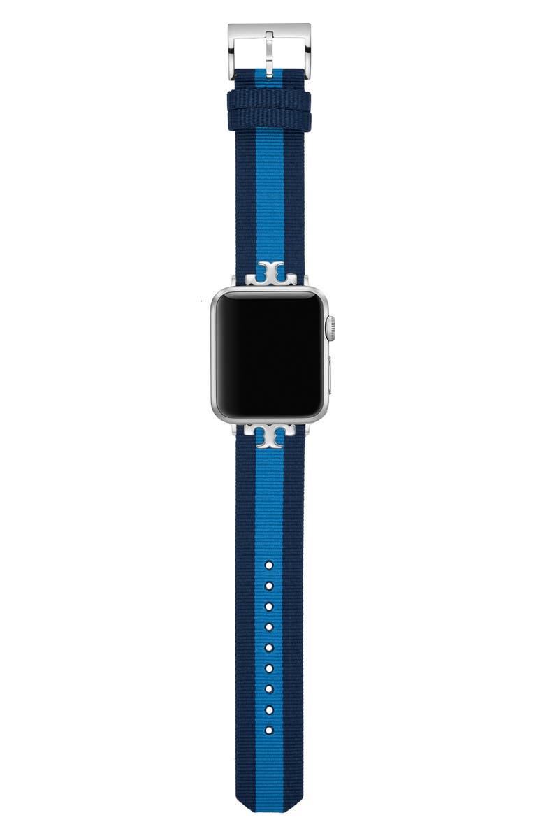 토리버치 Tory Burch Torch Burch The Serif-T Stripe Strap for Apple Watch, 38mmu002F40mm,blue