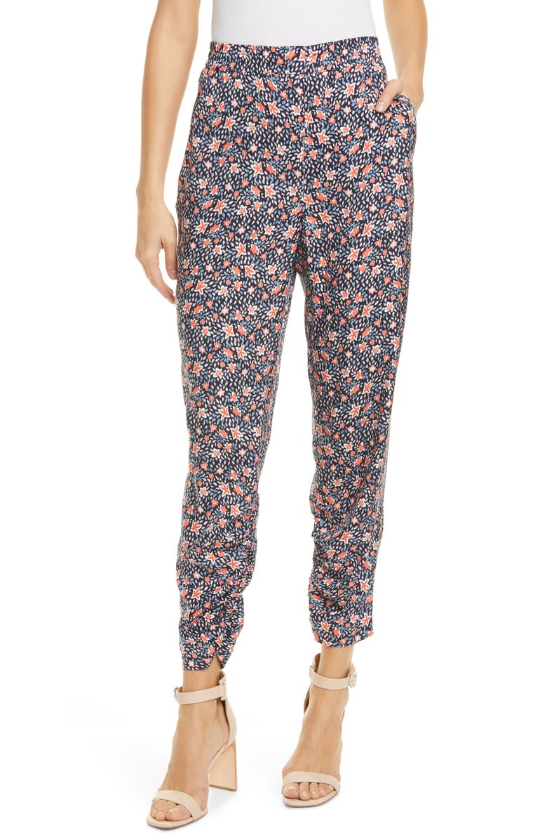 REBECCA TAYLOR Twilight Ditsy Floral Silk Blend Pants, Main, color, DARK NAVY COMBO