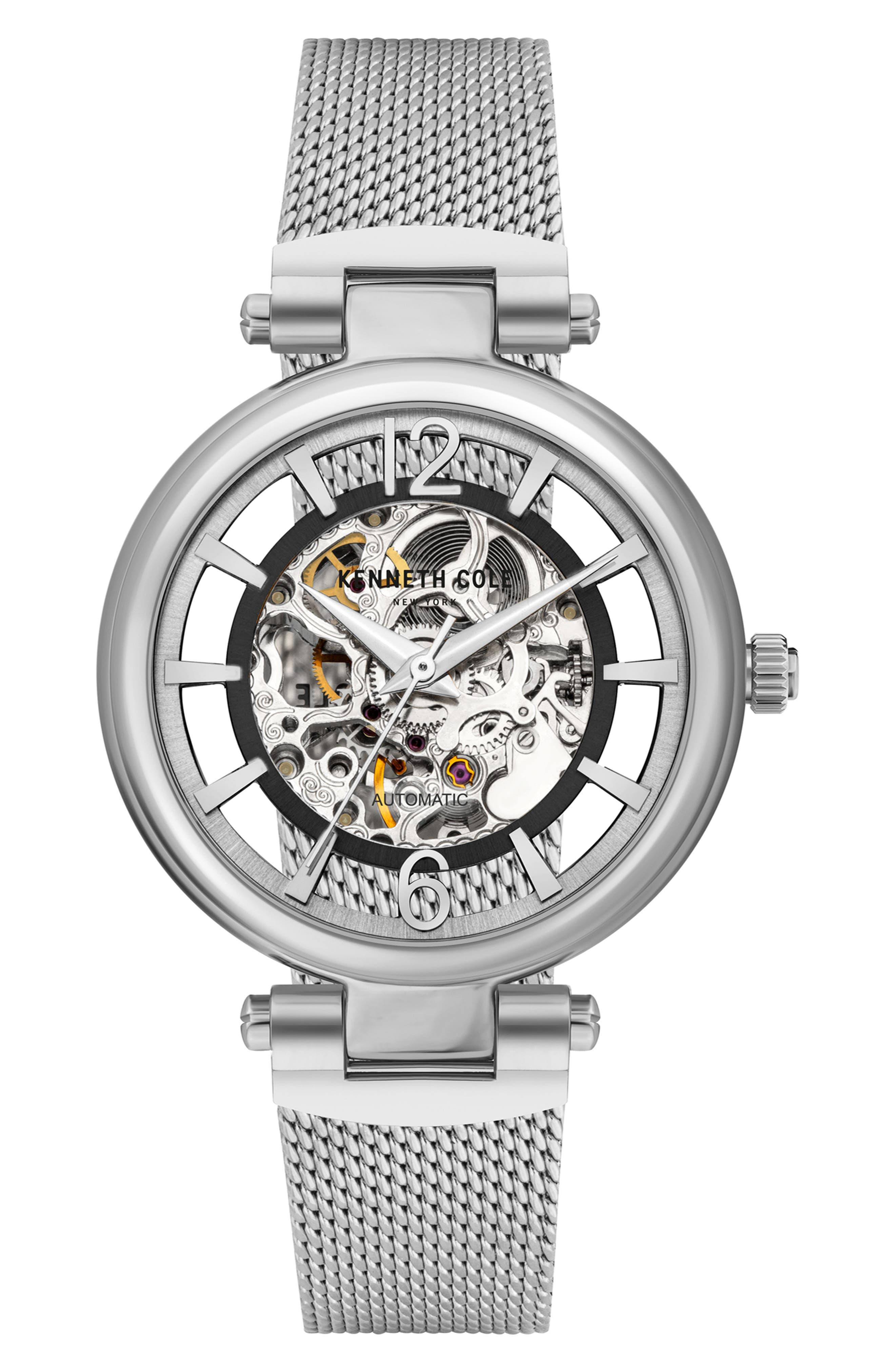 Skeletal Dial Automatic Mesh Strap Watch