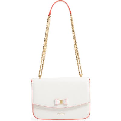Ted Baker London Danieel Bow Leather Crossbody Bag - Ivory