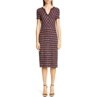 St. John Collection Multi Tuck Tweed Sweater Dress, Burgundy (Nordstrom Exclusive)