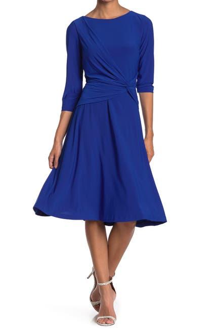 Image of Eliza J Side Twist Fit & Flare Dress