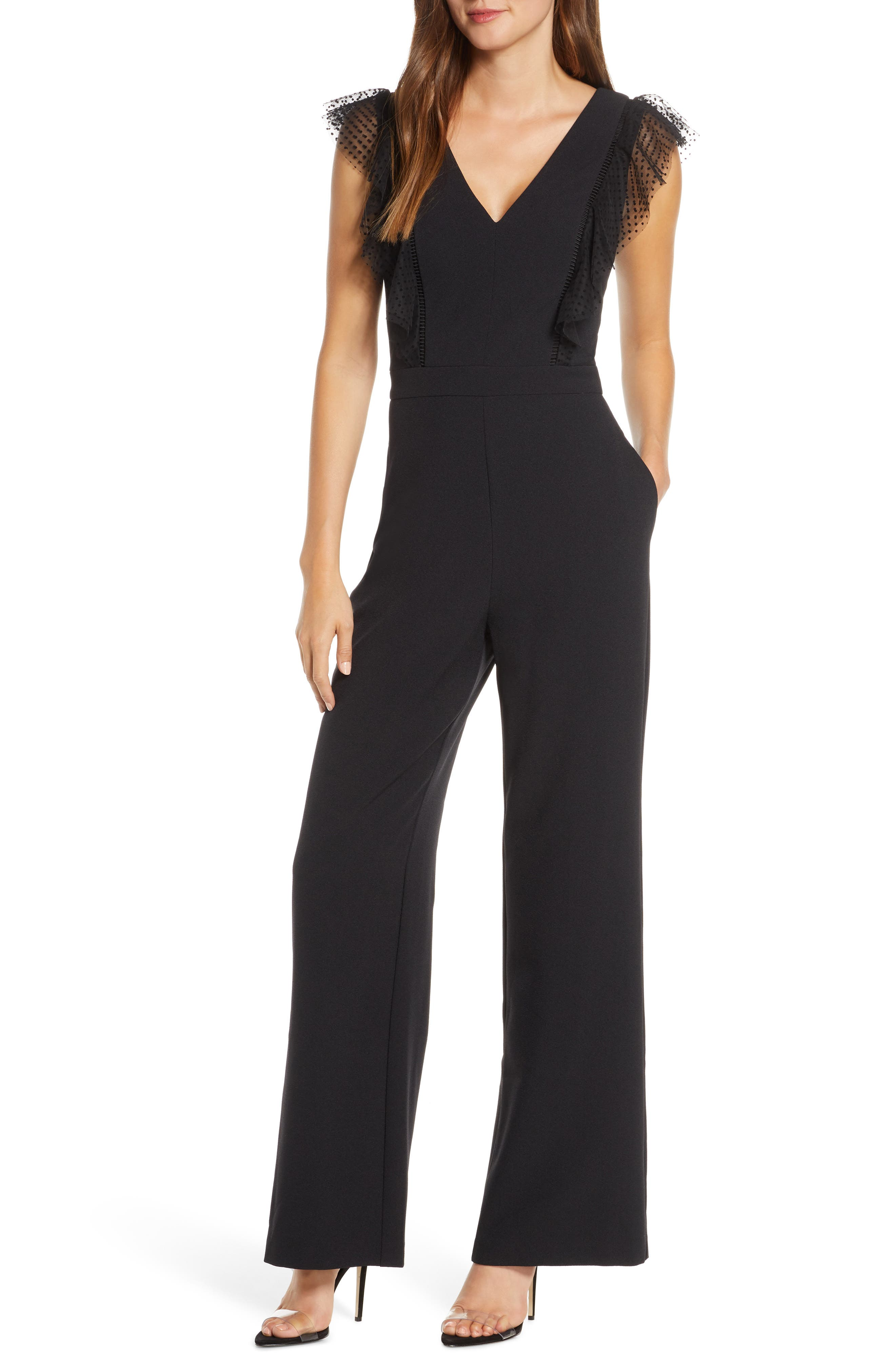 Eliza J Tulle Ruffle Stretch Crepe Jumpsuit | Nordstrom