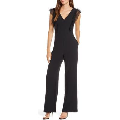 Eliza J Tulle Ruffle Stretch Crepe Jumpsuit, Black