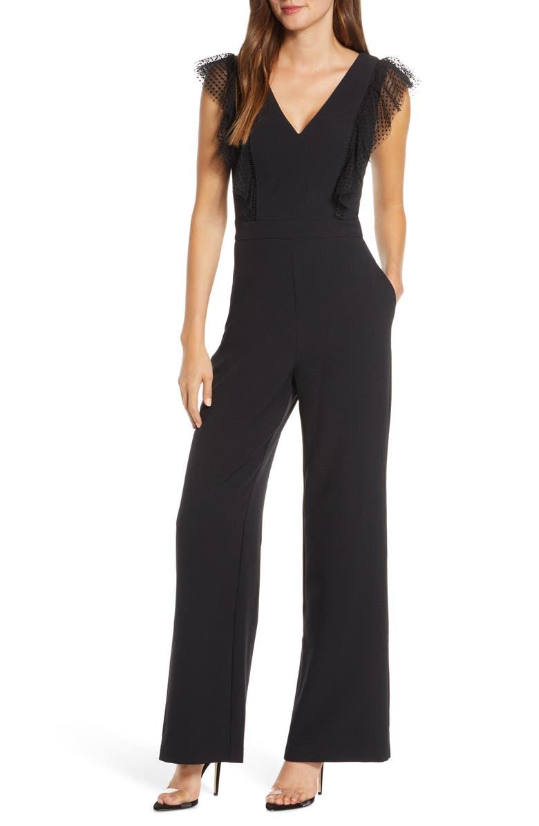 ELIZA J Tulle Ruffle Stretch Crepe Jumpsuit, Main, color, BLACK