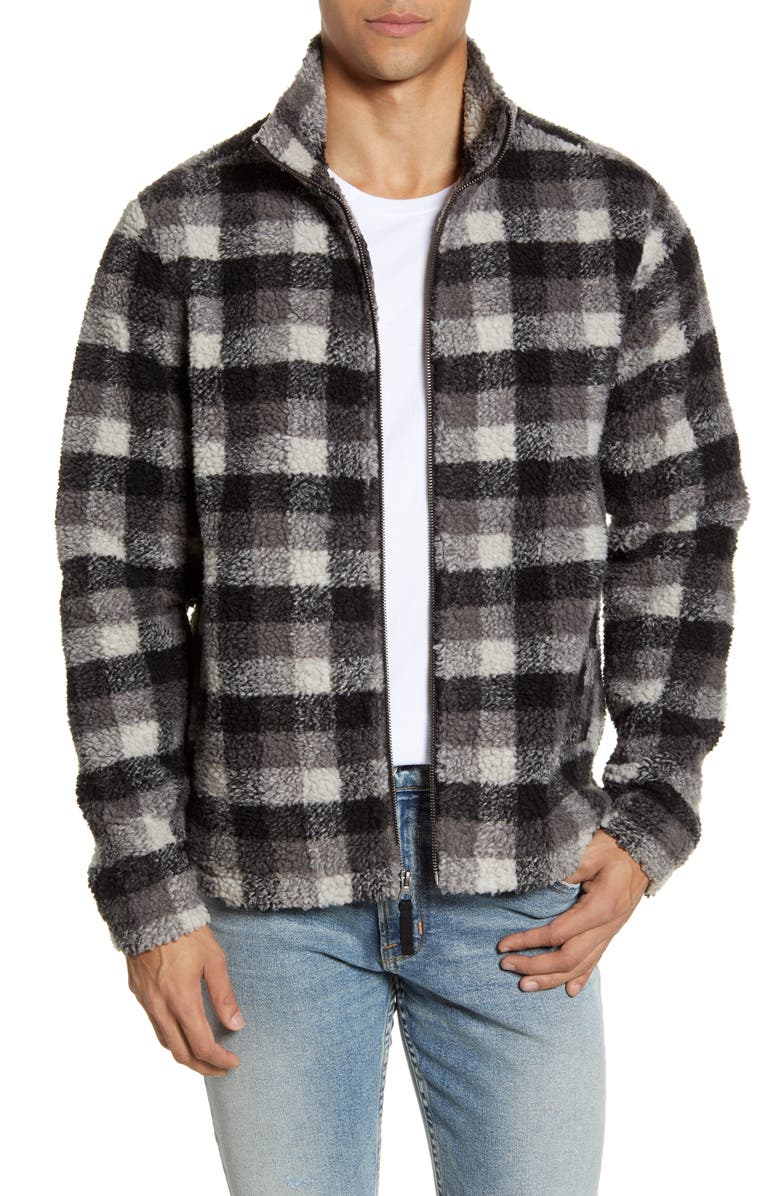 BP. Buffalo Check Fleece Jacket, Main, color, GREY-IVORY BUFFALO CHECK