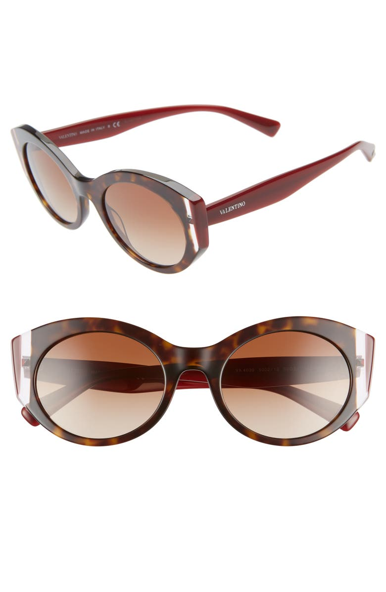 VALENTINO 53mm Cat Eye Sunglasses, Main, color, HAVANA/ BURGUNDY/ BROWN